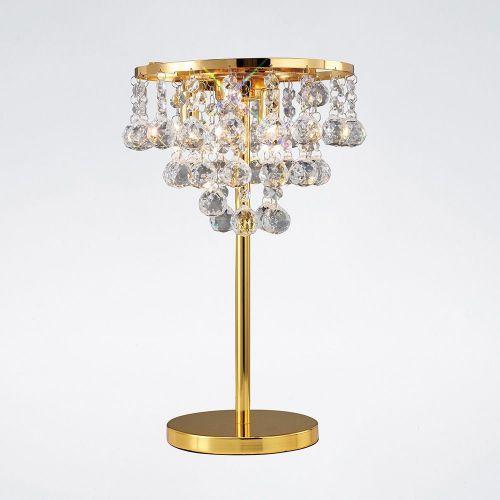 Diyas IL30031 Atla Table Lamp 3 Light French Gold/Crystal