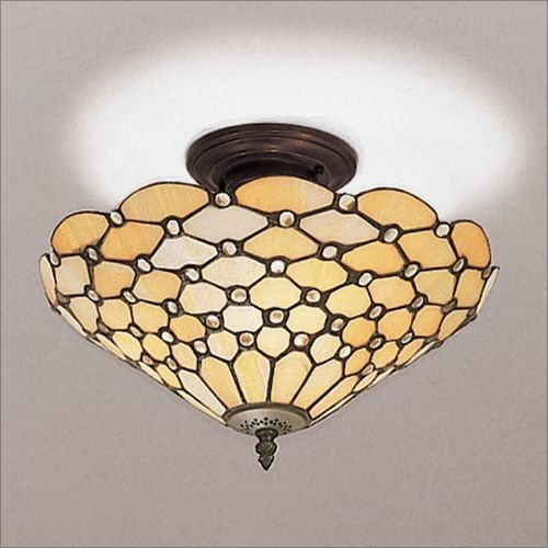 Interiors 1900 Tiffany Pearl Semi-Flush Fitting 64300