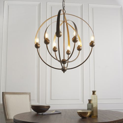 Large Ceiling Pendant Sphere Frame 8 Light Aged Bronze Padova REG/505068