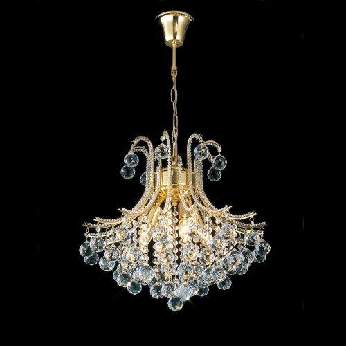 Diyas Bask  4 Light Pendant Round French Gold/Crystal IL30216/BA