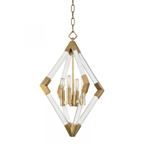 Pendant Light Aged Brass Hudson Valley Lyons 4617-AGB-CE