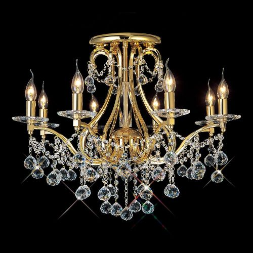 Diyas IL30218 Bianco Ceiling 8 Light French Gold Crystal Chandelier