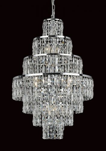 Impex CB03220/08/CH New York 8 Light Chrome Czech Crystal Ceiling Chandelier
