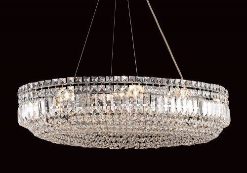 Impex CE09192/12/CH Olovo Crystal Oval Ceiling Pendant Chrome