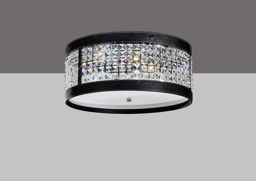 Diyas IL31031 Celsa Flush Ceiling Fitting 4 Light Polished Chrome Black Faux Leather Crystal