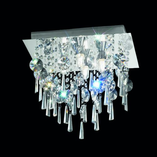 Bathroom Square Flush Ceiling Light Crystal Glass Drops Polished Chrome LEK60053