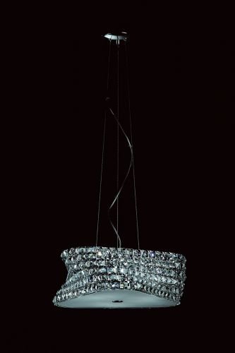 Impex Tia 6 Light Ceiling Pendant Fitting Chrome Clear Crystal With Frosted Diffuser IMP/CFH211131/06/CLR/CH