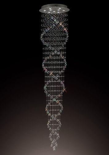 Diyas  Colorado 9 Light 3M Tall Corkscrew Pendant  Polished Chrome/Crystal IL31377