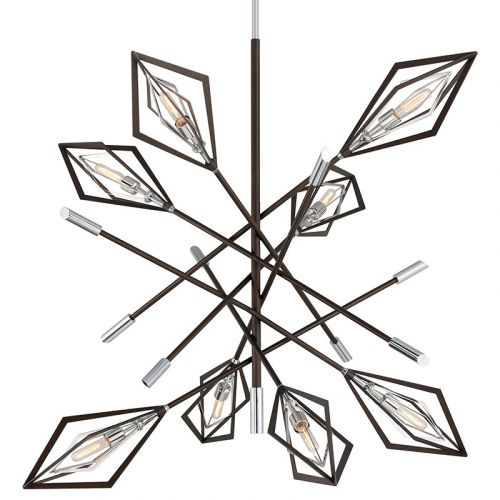 Troy 8 Light Chandelier Bronze And Polished Stainless Javelin F6148-CE