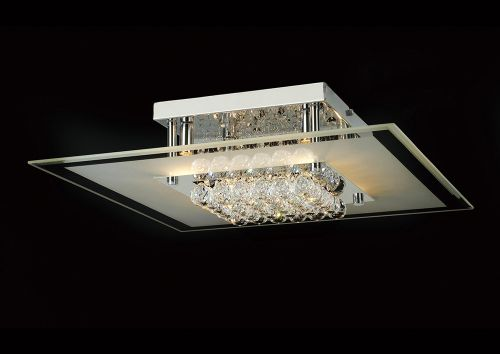 Diyas IL30024 Delmar Crystal 6 Light Square Flush Ceiling Fitting Polished Chrome Frame