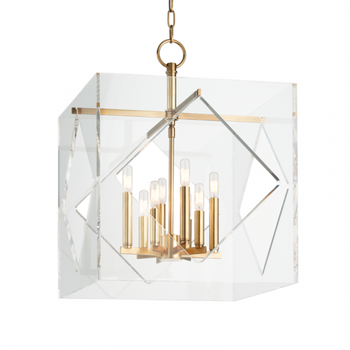 Large Ceiling Pendant 8 Light Aged Brass Hudson Valley Travis 5920-AGB-CE