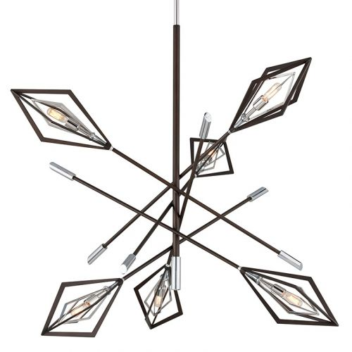 Troy 6 Light Chandelier Bronze And Polished Stainless Javelin F6146-CE