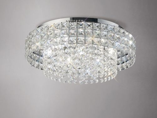 Diyas IL31151 Edison Flush Ceiling Fitting Round 7 Light Polished Chrome Crystal