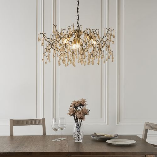 Multi-Arm Ceiling Pendant 4 Light Aged Gold Turin REG/505013