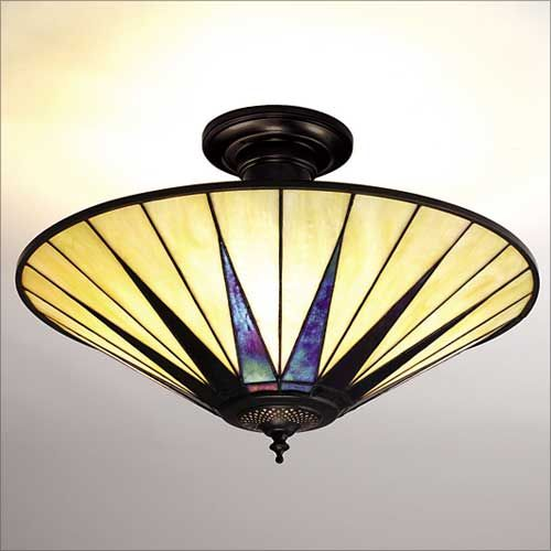 Interiors 1900 Dark Star Tiffany 3 Light Large Semi-Flush 64043