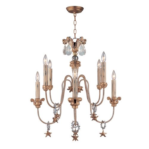 Flambeau Mignon 8 Light Antique Gold Chandelier FB/MIGNON8