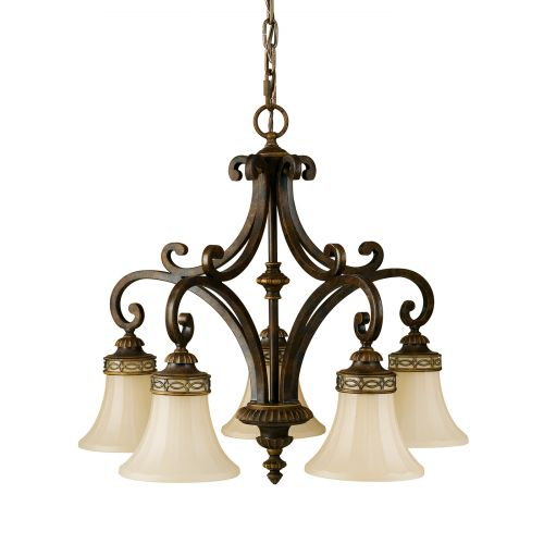 Feiss FE/DRAWING RM5 Drawing Room 5Lt Walnut Ceiling Pendant