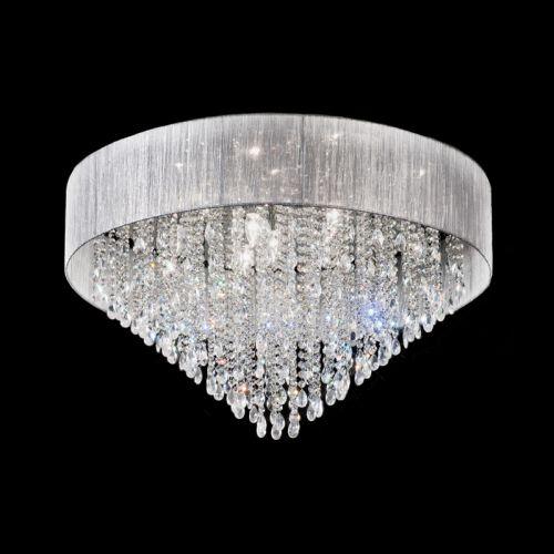 Crystal Flush Ceiling Fitting Polished Chrome 10 Light Roya LEK61516