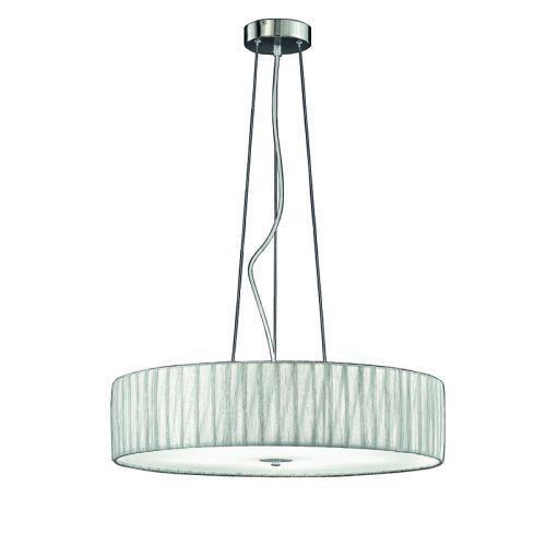 Pendant 5 Light Fitting Silver Fabric Shade Apulia LEK61523