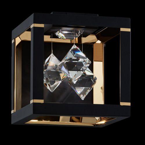 Swarovski Fyra LED Wall Light Black Clear Crystals SQB110E-BK1S