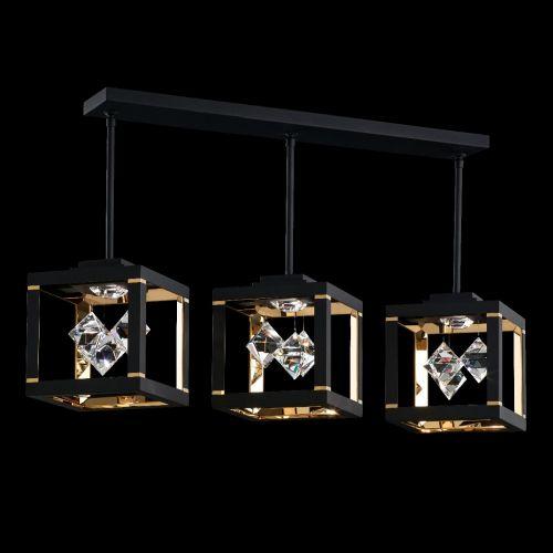 Swarovski SQB610 Fyra LED Crystal Bar Ceiling Pendant Black Frame