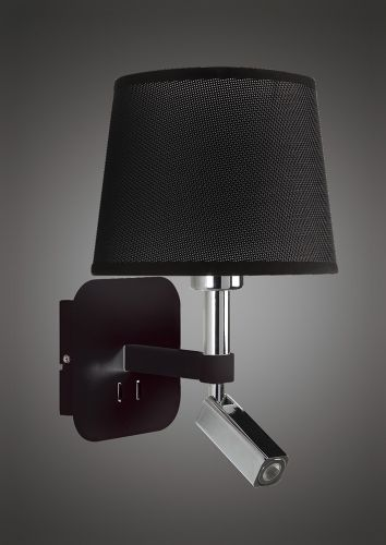 Mantra M5317 Habana Wall Lamp 1 Light Without Shade E27 Reading Light 3W LED Black Polished Chrome 3000K 200lm