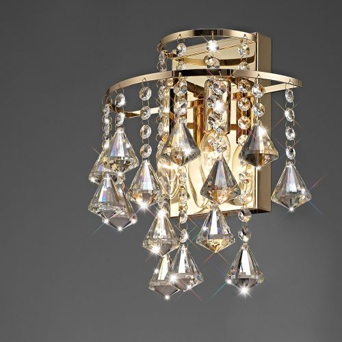 Diyas Inina 2 Light Wall Lamp Switched E14 French Gold/Crystal IL32774