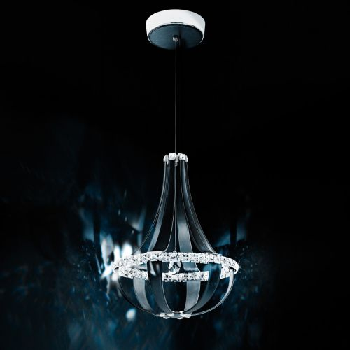 Swarovski Crystal Empire LED Pendant Fitting Grizzly Black Clear Crystals SCE110DE-LB1S
