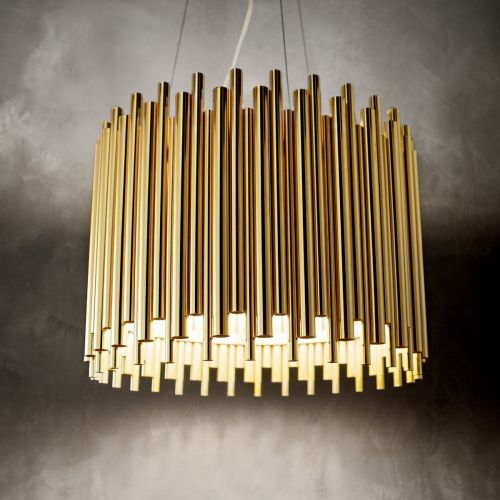 Ideal Lux 208817 Pan 5 Light Pendant Gold Frame