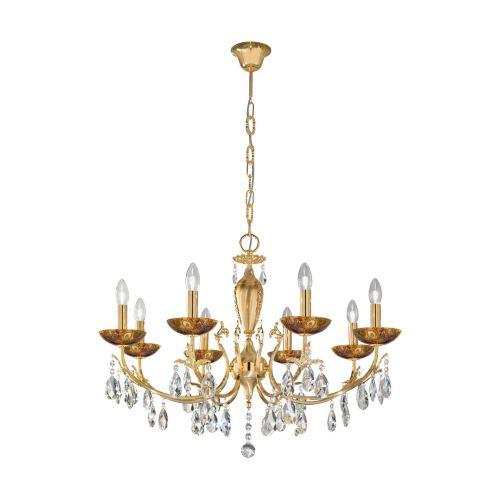 Kolarz 3003.88.3.KoT/me30 Victoria II Crystal 8 Light Chandelier Medici Gold Frame