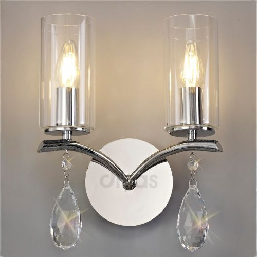 Diyas IL32792 Rhea Crystal Double Wall Light Polished Chrome Frame