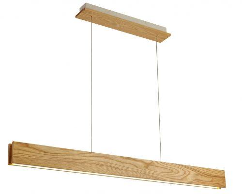 LED Pendant Light Fitting Oak Matt White Lekki Adair LEK3006