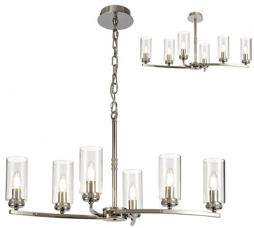 Semi Flush/Pendant Ceiling Light Fitting Nickel Lekki Dyani LEK3087