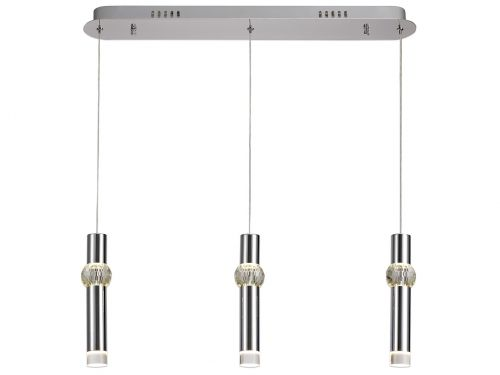 Linear Pendant Light Fitting LED Chrome Lekki Luna LEK3148