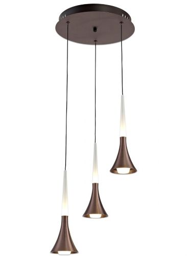 Round Pendant Light Fitting 3 LED Light Satin Brown Lekki London LEK3162