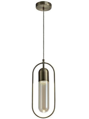LED Ceiling Pendant Light Fitting Antique Brass Amber Lekki Nifty LEK3230