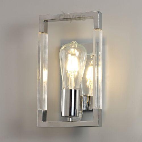 Diyas IL32784 Canto Single Wall Light Polished Nickel Acrylic Frame