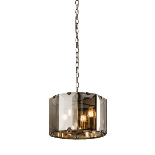 Endon Clooney 61281 Small 4 Light Pendant Smoked Glass Grey Frame