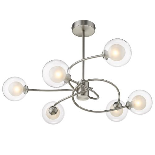 Semi Flush 6 Light Fitting Satin Nickel Lekki Molly LEK7194