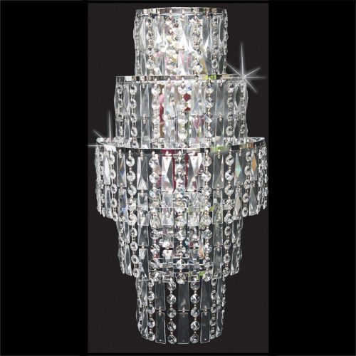 Impex CB03220/WB/CH New York 3 Light Czech Crystal Wall Light Chrome