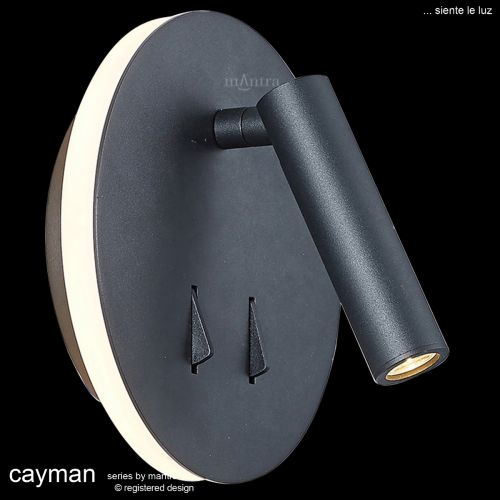 Mantra Cayman Reading Wall Light  6W + 3W LED 3000K 620lm Sand Black M6083