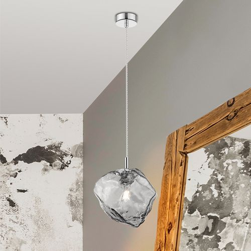 Schuller Petra 213226 Small Single Pendant Smoked Glass Chrome Frame