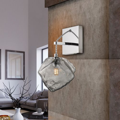Schuller Petra 213868 Single Wall Light Smoked Glass Chrome Frame