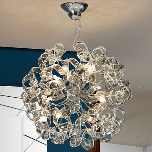Schuller Nova 542013D Crystal 8 Light Ceiling Pendant Chrome Frame with Remote