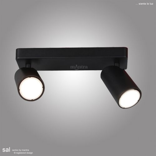Mantra Sal Linear Twin 2 Light Spotlight GU10 Matt Black M6712