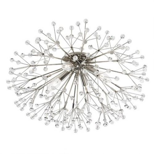 Crystal Wall/Ceiling Flush Light Polished Nickel Hudson Valley Dunkirk 6000-PN-CE