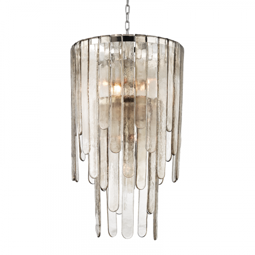 Glass Pendant Chandelier 9 Light Polished Nickel Hudson Valley Fenwater 9418-PN-CE