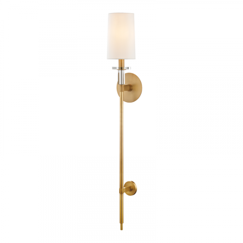 Tall Wall Light Aged Brass Hudson Valley Amherst 8536-AGB-CE