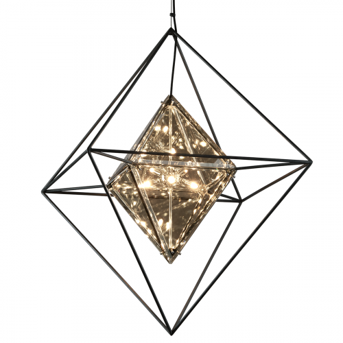 Large Ceiling Pendant 8 Light Forged Iron Troy Epic F5327-CE