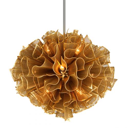 Ceiling Pendant 12 Light Gold Leaf Corbett Pulse 218-412-CE